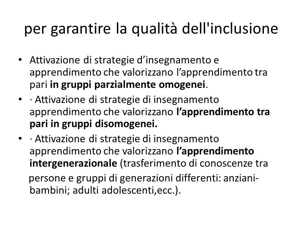 per garantire la qualità dell'inclusione Attivazione di strategie d'insegnamento e apprendimento che valorizzano l'apprendimento tra pari in gruppi pa