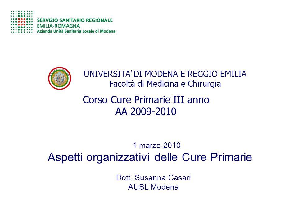 UNIVERSITA' DI MODENA E REGGIO EMILIA Facoltà di Medicina e Chirurgia Corso Cure Primarie III anno AA 2009-2010 Dott. Susanna Casari AUSL Modena 1 mar
