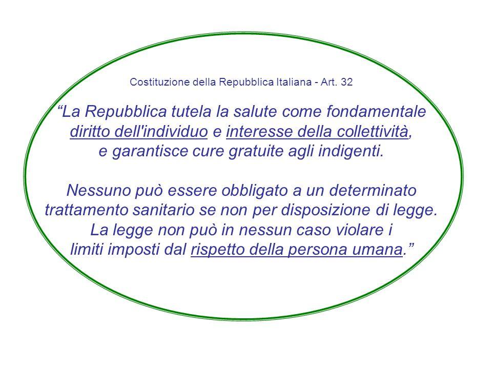 """Costituzione della Repubblica Italiana - Art. 32 """"La Repubblica tutela la salute come fondamentale diritto dell'individuo e interesse della collettivi"""
