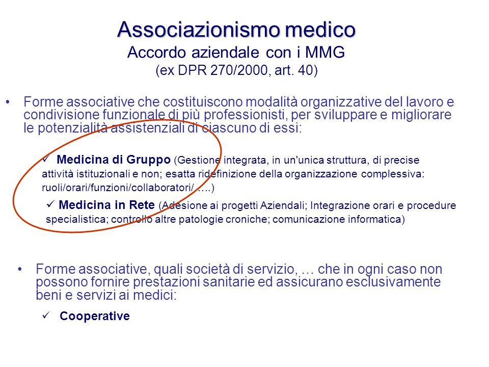 Associazionismo medico Associazionismo medico Accordo aziendale con i MMG (ex DPR 270/2000, art. 40) Forme associative che costituiscono modalità orga
