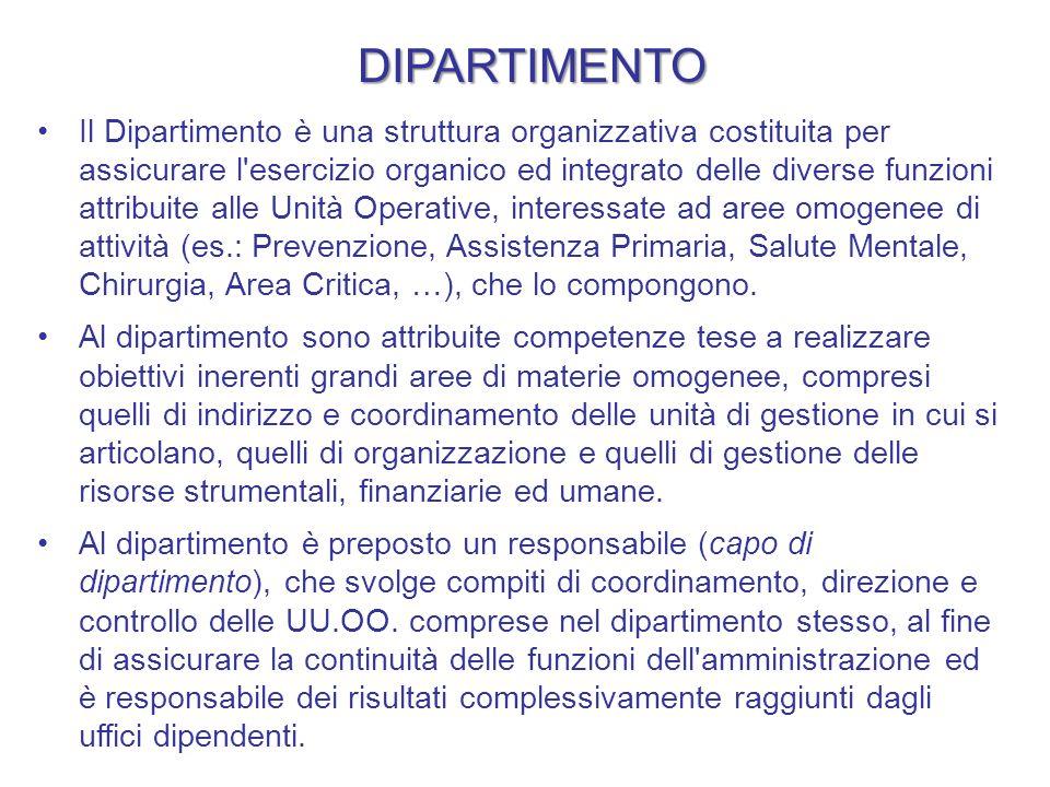 DIPARTIMENTO Il Dipartimento è una struttura organizzativa costituita per assicurare l'esercizio organico ed integrato delle diverse funzioni attribui