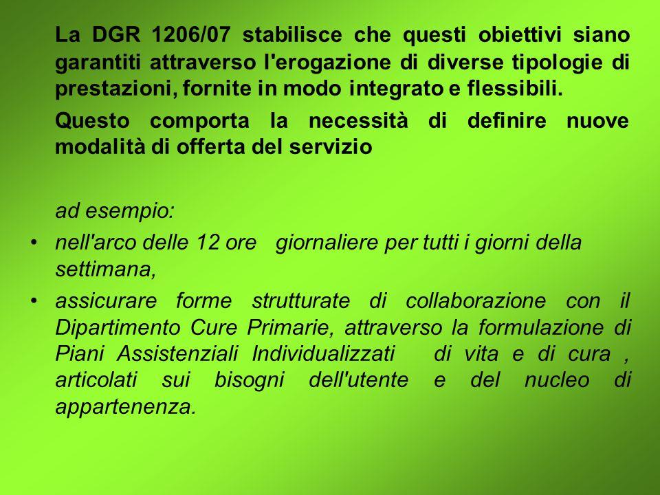 La DGR 1206/07 stabilisce che questi obiettivi siano garantiti attraverso l erogazione di diverse tipologie di prestazioni, fornite in modo integrato e flessibili.