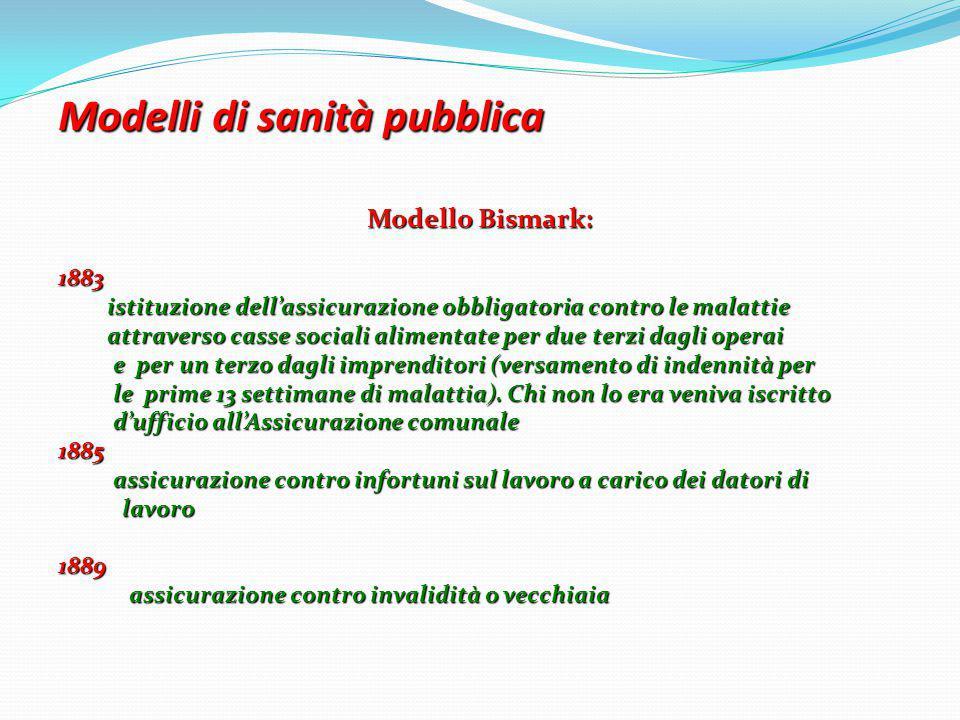 Modelli di sanità pubblica Modelli di sanità pubblica Modello Bismark: 1883 istituzione dell'assicurazione obbligatoria contro le malattie istituzione