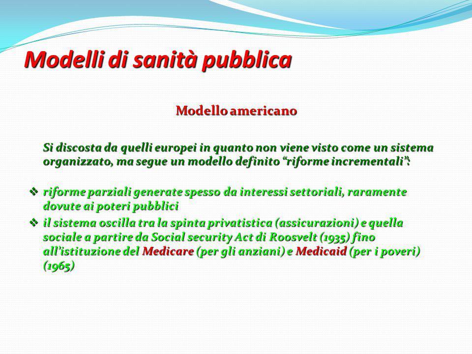 Modelli di sanità pubblica Modello americano Si discosta da quelli europei in quanto non viene visto come un sistema organizzato, ma segue un modello