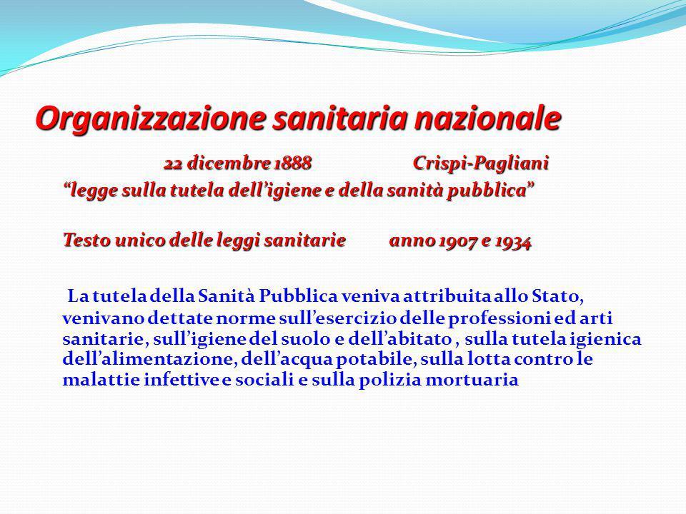 """Organizzazione sanitaria nazionale 22 dicembre 1888 Crispi-Pagliani """"legge sulla tutela dell'igiene e della sanità pubblica"""" Testo unico delle leggi s"""
