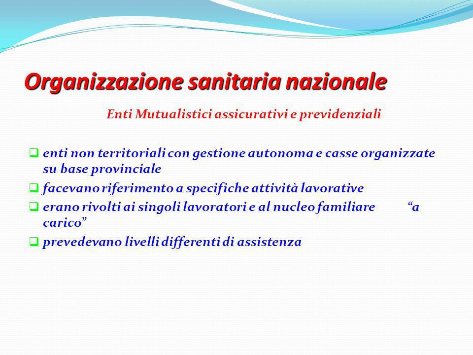 Organizzazione sanitaria nazionale Enti Mutualistici assicurativi e previdenziali  enti non territoriali con gestione autonoma e casse organizzate su