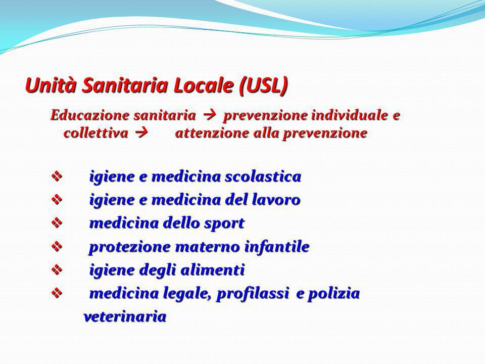 Unità Sanitaria Locale (USL) Educazione sanitaria  prevenzione individuale e collettiva  attenzione alla prevenzione  igiene e medicina scolastica