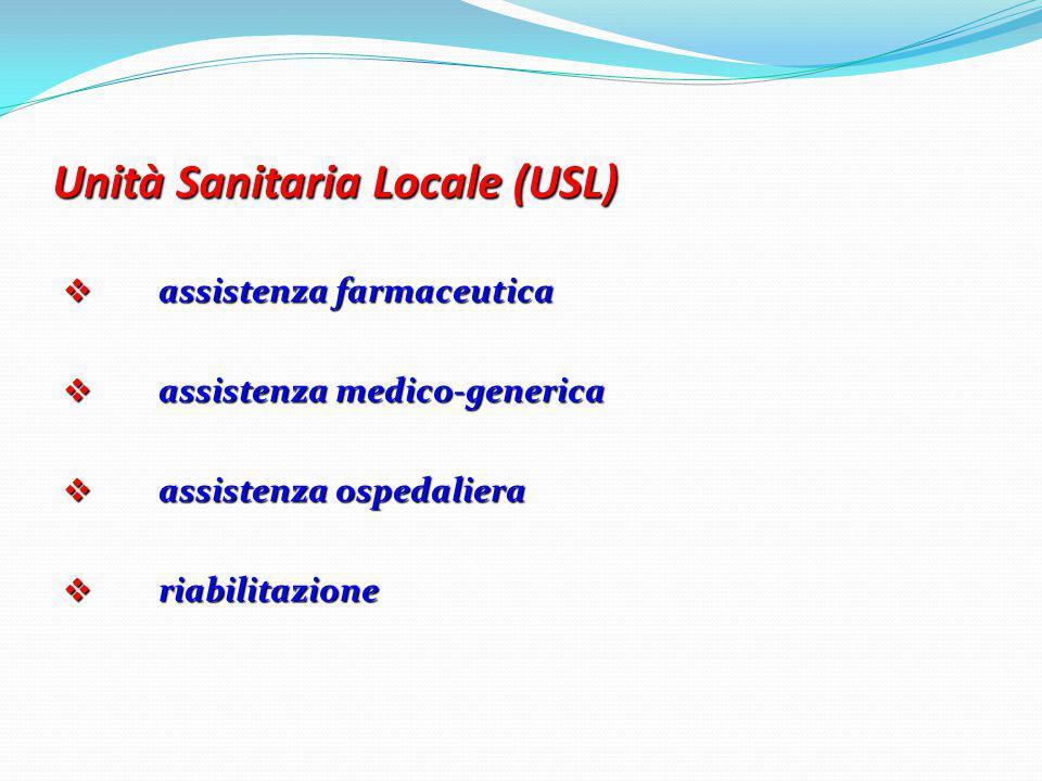 Unità Sanitaria Locale (USL)  assistenza farmaceutica  assistenza medico-generica  assistenza ospedaliera  riabilitazione