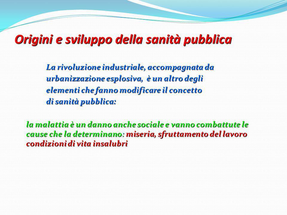 Origini e sviluppo della sanità pubblica La rivoluzione industriale, accompagnata da urbanizzazione esplosiva, è un altro degli elementi che fanno mod