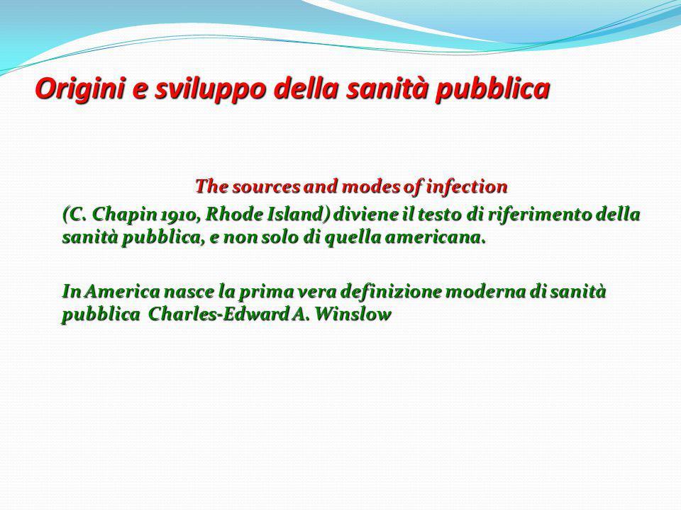 Origini e sviluppo della sanità pubblica The sources and modes of infection (C. Chapin 1910, Rhode Island) diviene il testo di riferimento della sanit