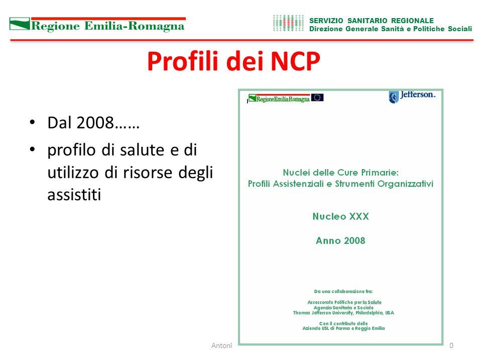 SERVIZIO SANITARIO REGIONALE Direzione Generale Sanità e Politiche Sociali Antonio Brambilla20 Profili dei NCP Dal 2008…… profilo di salute e di utilizzo di risorse degli assistiti