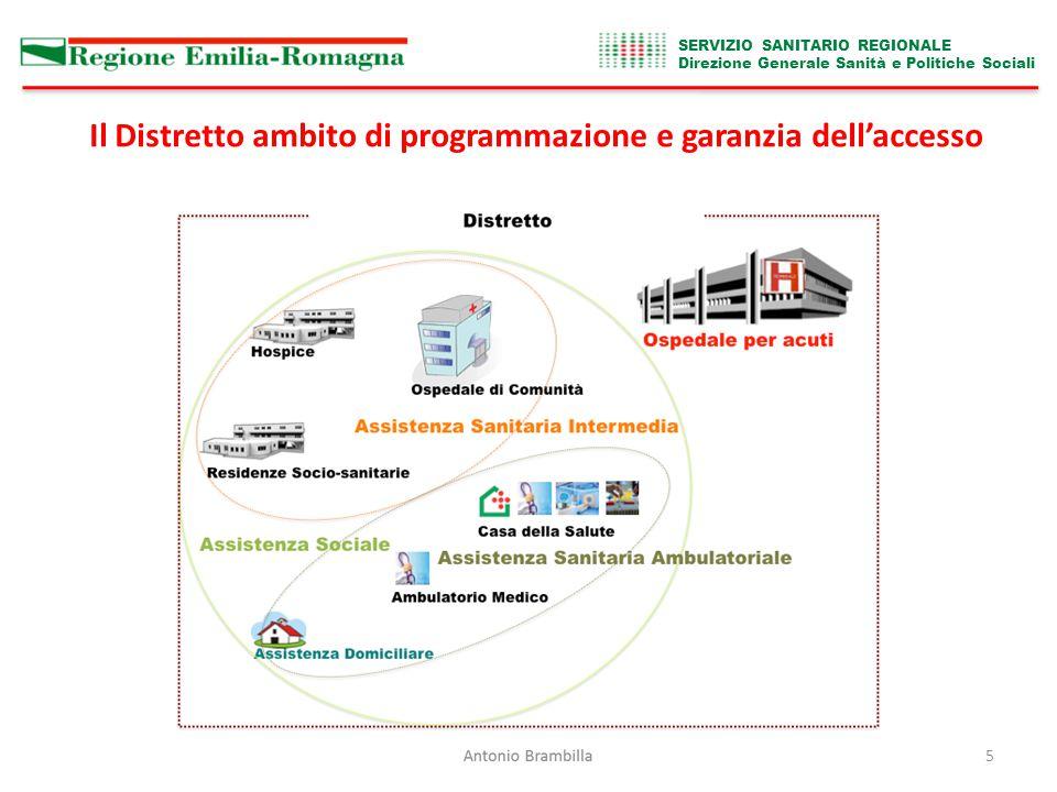 SERVIZIO SANITARIO REGIONALE Direzione Generale Sanità e Politiche Sociali 5 Il Distretto ambito di programmazione e garanzia dell'accesso