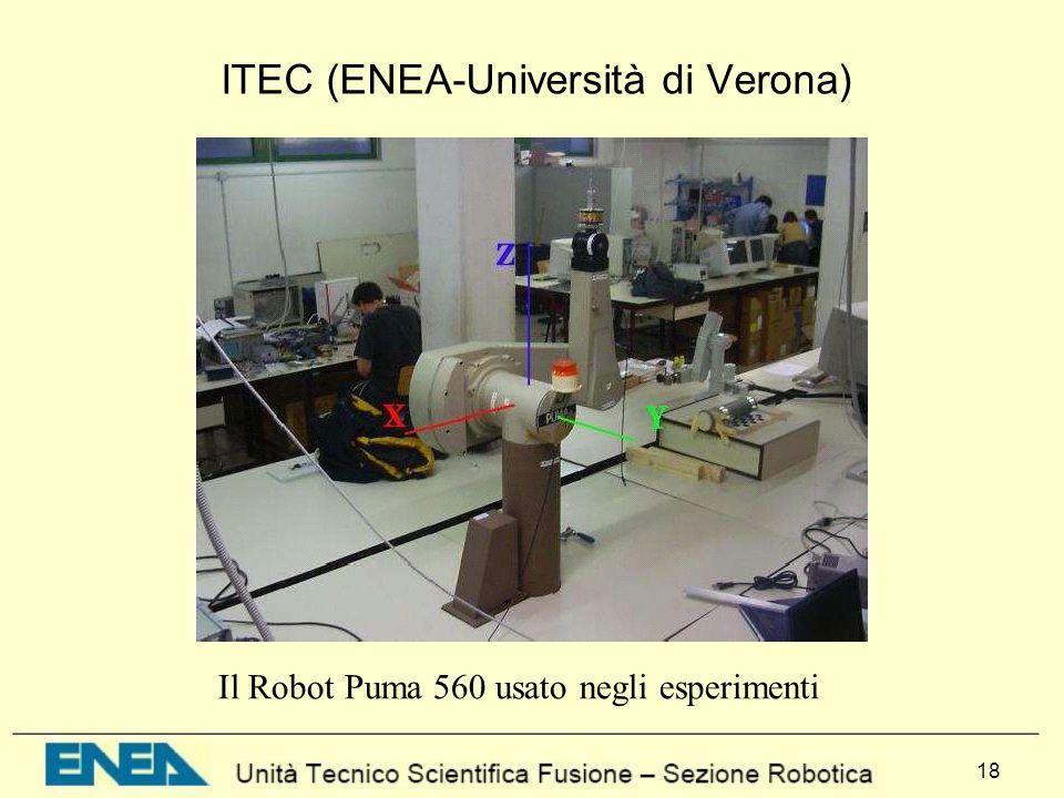 18 Il Robot Puma 560 usato negli esperimenti ITEC (ENEA-Università di Verona)
