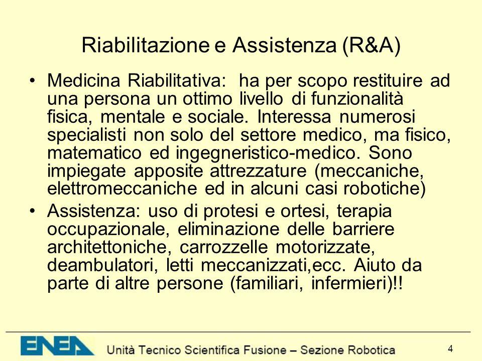 4 Riabilitazione e Assistenza (R&A) Medicina Riabilitativa: ha per scopo restituire ad una persona un ottimo livello di funzionalità fisica, mentale e