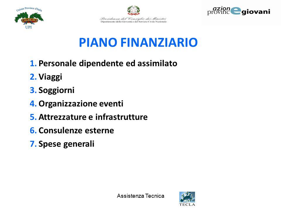 Assistenza Tecnica PIANO FINANZIARIO 1.Personale dipendente ed assimilato 2.Viaggi 3.Soggiorni 4.Organizzazione eventi 5.Attrezzature e infrastrutture 6.Consulenze esterne 7.Spese generali