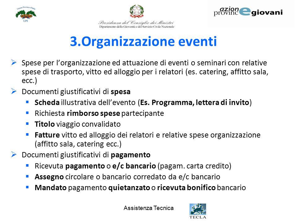 Assistenza Tecnica 3.Organizzazione eventi  Spese per l'organizzazione ed attuazione di eventi o seminari con relative spese di trasporto, vitto ed alloggio per i relatori (es.