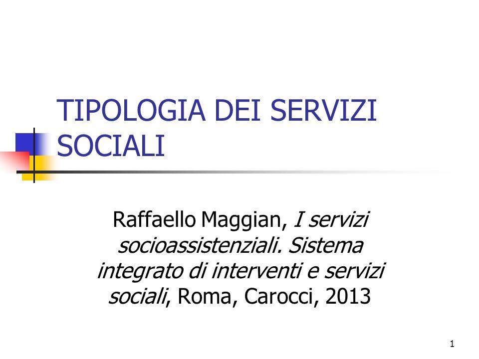 1 TIPOLOGIA DEI SERVIZI SOCIALI Raffaello Maggian, I servizi socioassistenziali. Sistema integrato di interventi e servizi sociali, Roma, Carocci, 201