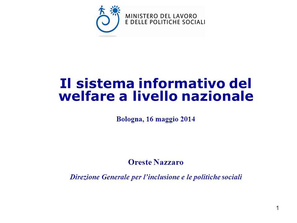 1 Il sistema informativo del welfare a livello nazionale Bologna, 16 maggio 2014 Oreste Nazzaro Direzione Generale per l'inclusione e le politiche sociali