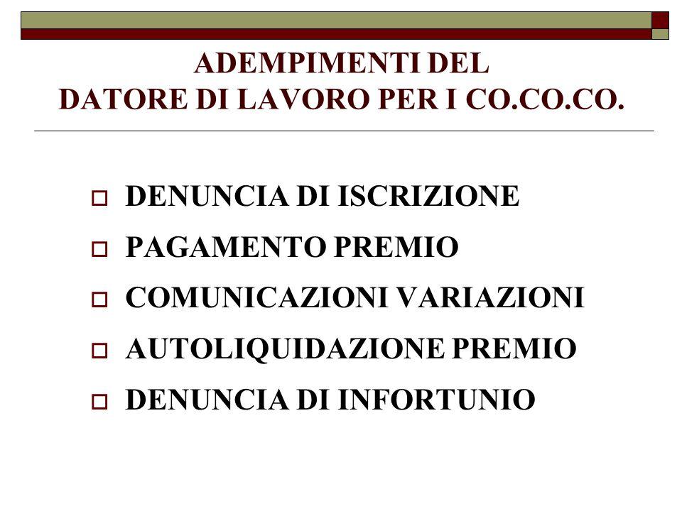 ADEMPIMENTI DEL DATORE DI LAVORO PER I CO.CO.CO.