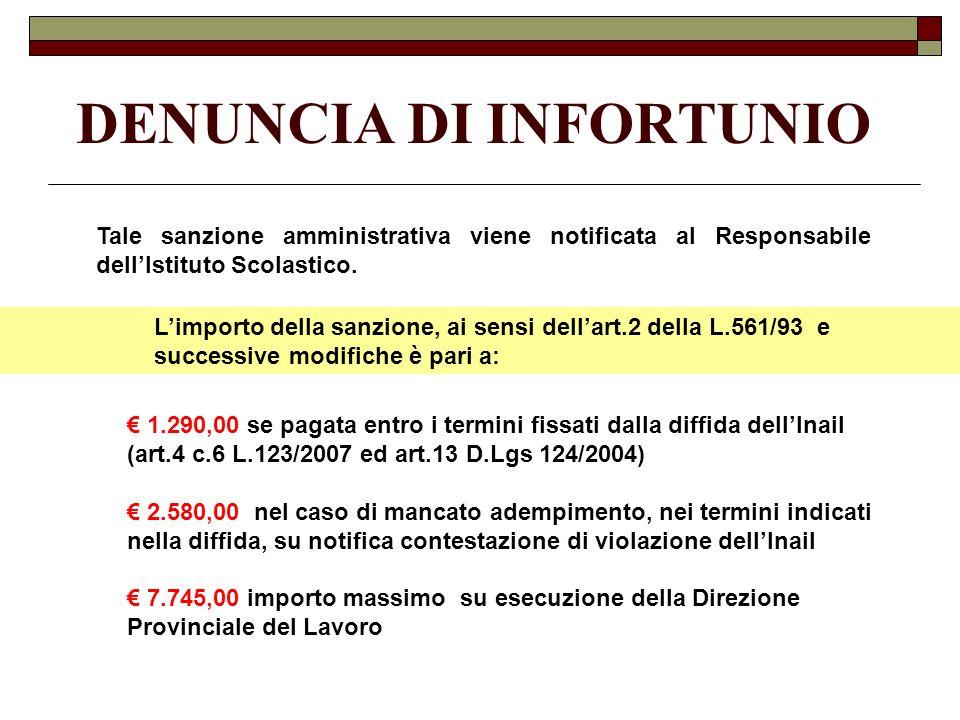 Tale sanzione amministrativa viene notificata al Responsabile dell'Istituto Scolastico.