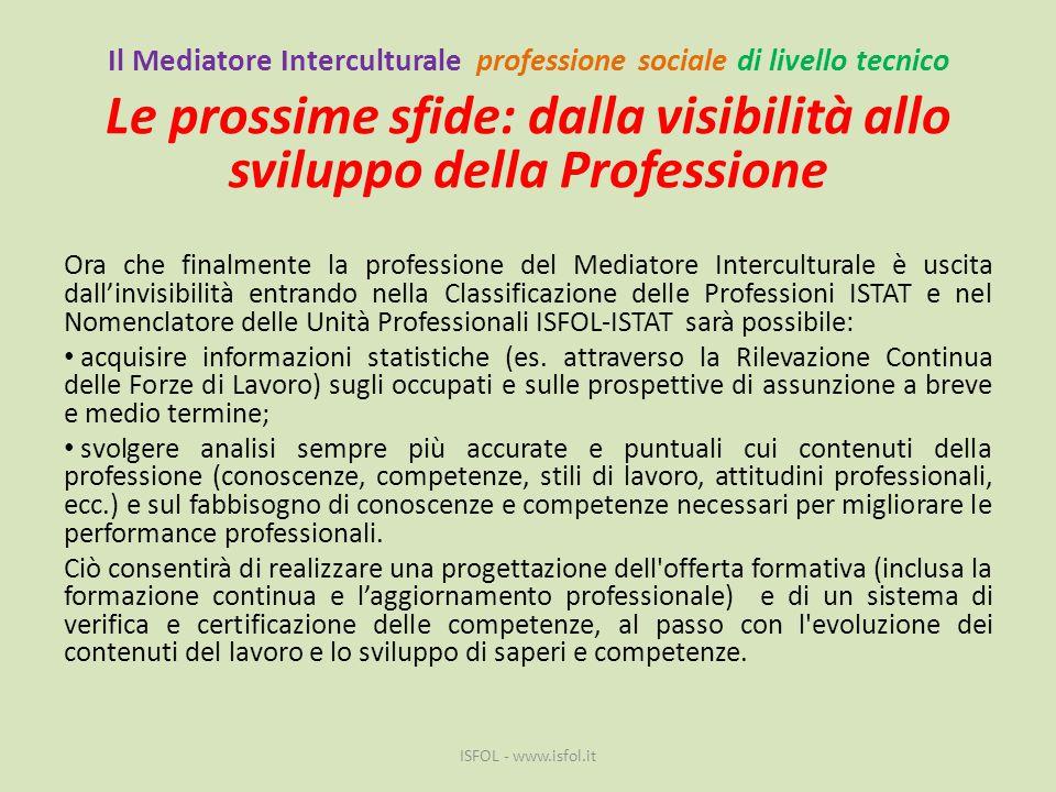 Il Mediatore Interculturale professione sociale di livello tecnico Le prossime sfide: dalla visibilità allo sviluppo della Professione Ora che finalme