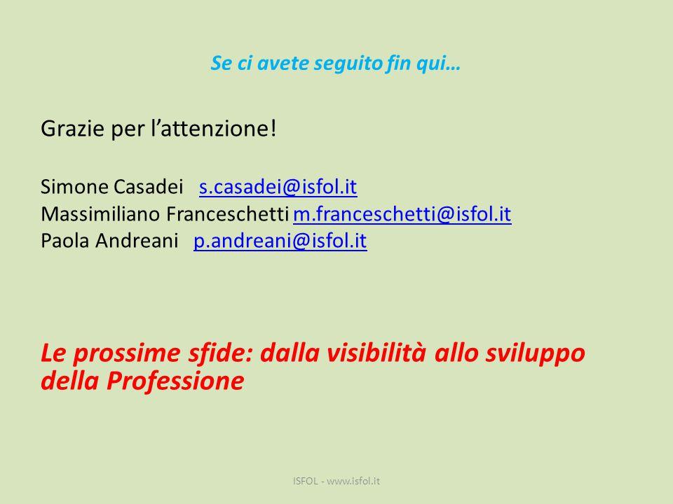 Se ci avete seguito fin qui… Grazie per l'attenzione! Simone Casadei s.casadei@isfol.it Massimiliano Franceschetti m.franceschetti@isfol.it Paola Andr