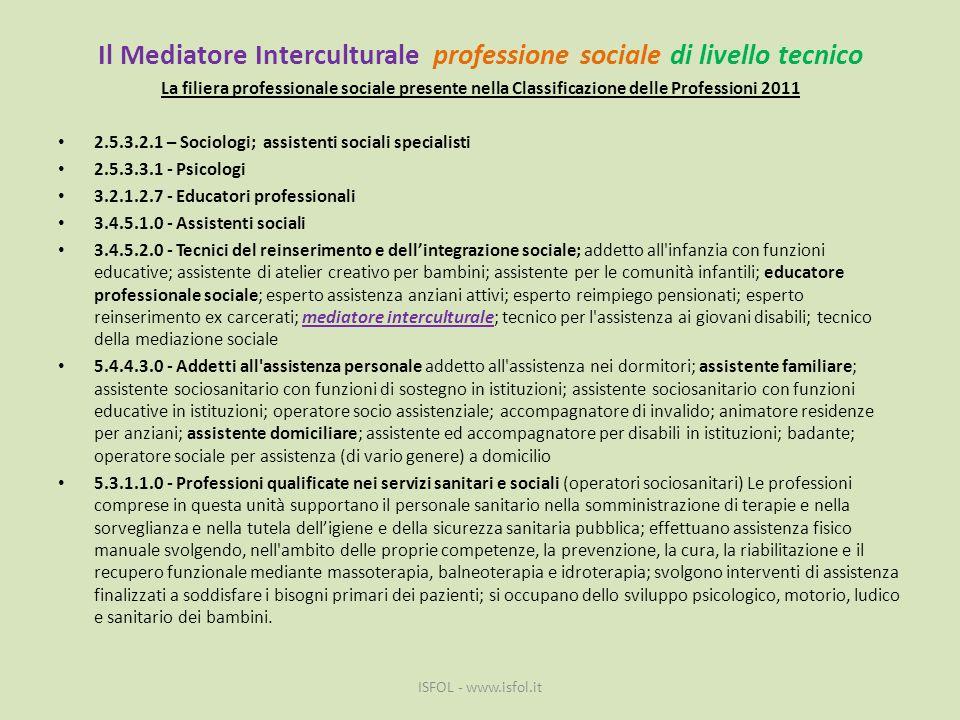 Il Mediatore Interculturale professione sociale di livello tecnico La filiera professionale sociale presente nella Classificazione delle Professioni 2