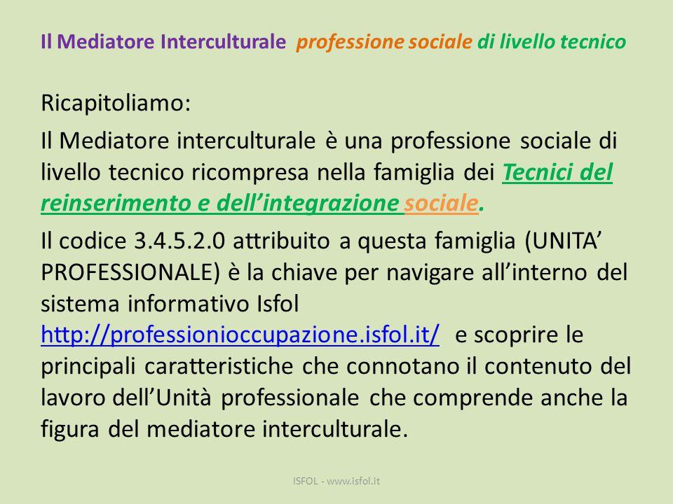 Il Mediatore Interculturale professione sociale di livello tecnico Ricapitoliamo: Il Mediatore interculturale è una professione sociale di livello tec