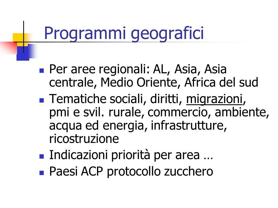 Programmi geografici Per aree regionali: AL, Asia, Asia centrale, Medio Oriente, Africa del sud Tematiche sociali, diritti, migrazioni, pmi e svil.