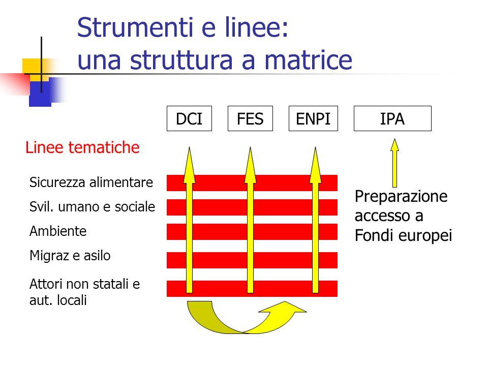Strumenti e linee: una struttura a matrice DCIENPIIPA Sicurezza alimentare Svil.