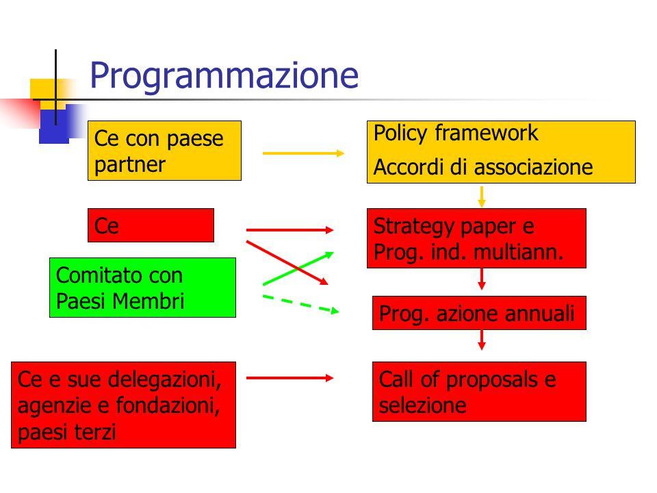 Programmazione Ce con paese partner Policy framework Accordi di associazione Strategy paper e Prog. ind. multiann. Ce Prog. azione annuali Comitato co
