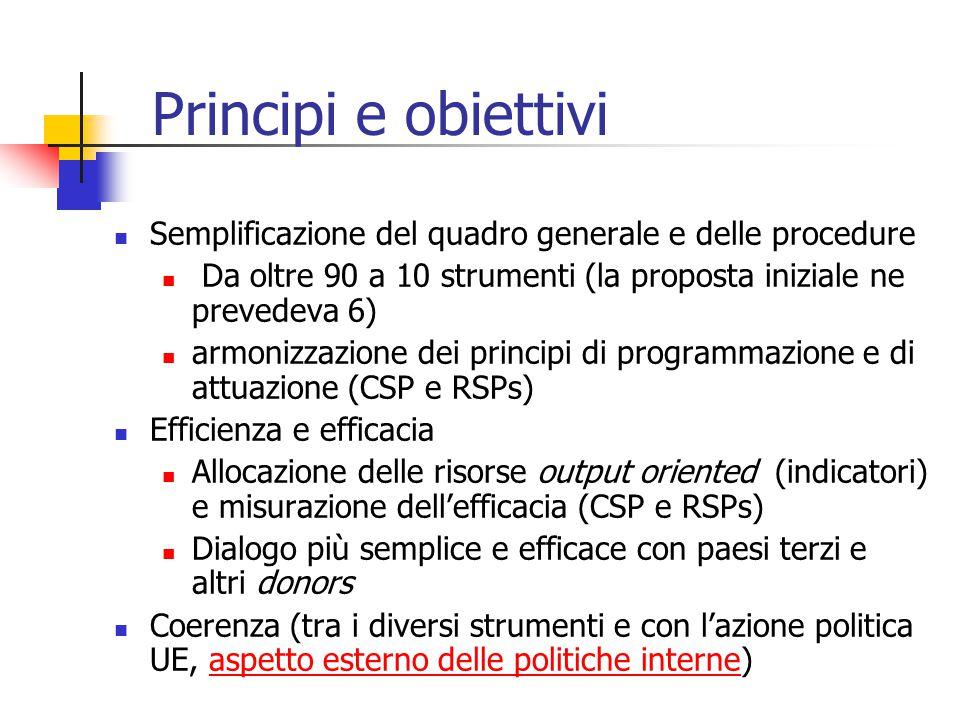 Principi e obiettivi Semplificazione del quadro generale e delle procedure Da oltre 90 a 10 strumenti (la proposta iniziale ne prevedeva 6) armonizzaz