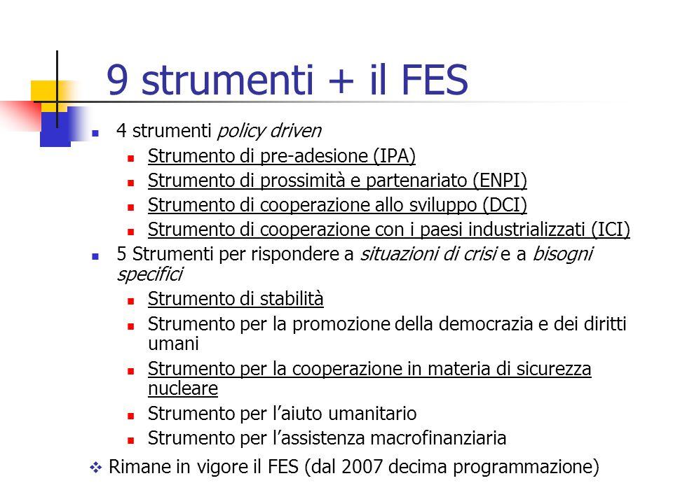 9 strumenti + il FES 4 strumenti policy driven Strumento di pre-adesione (IPA) Strumento di prossimità e partenariato (ENPI) Strumento di cooperazione allo sviluppo (DCI) Strumento di cooperazione con i paesi industrializzati (ICI) 5 Strumenti per rispondere a situazioni di crisi e a bisogni specifici Strumento di stabilità Strumento per la promozione della democrazia e dei diritti umani Strumento per la cooperazione in materia di sicurezza nucleare Strumento per l'aiuto umanitario Strumento per l'assistenza macrofinanziaria  Rimane in vigore il FES (dal 2007 decima programmazione)