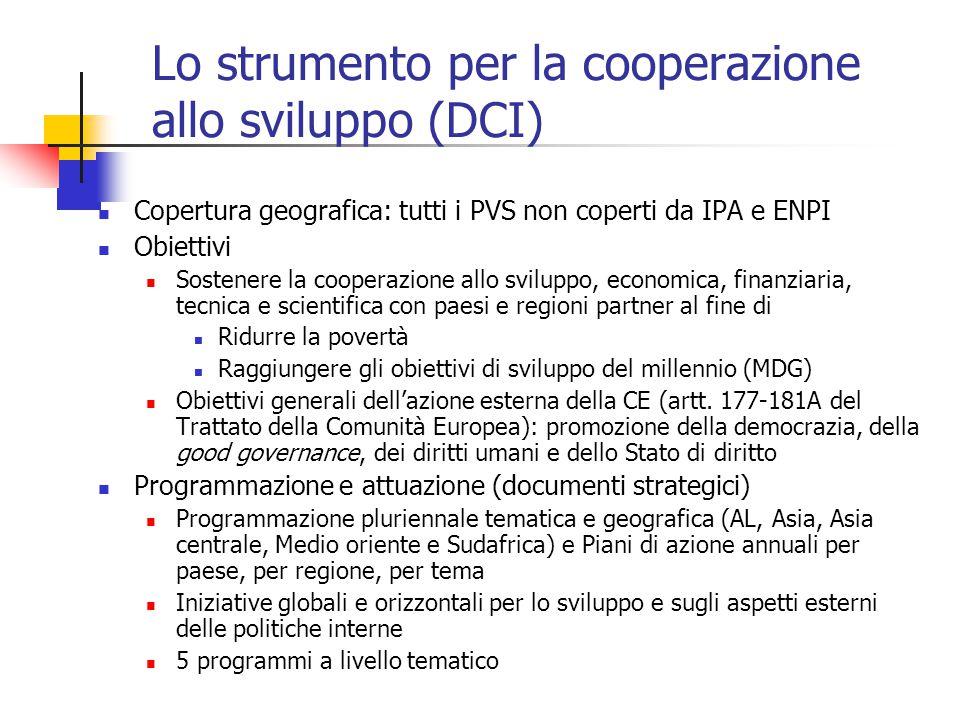 Lo strumento per la cooperazione allo sviluppo (DCI) Copertura geografica: tutti i PVS non coperti da IPA e ENPI Obiettivi Sostenere la cooperazione a