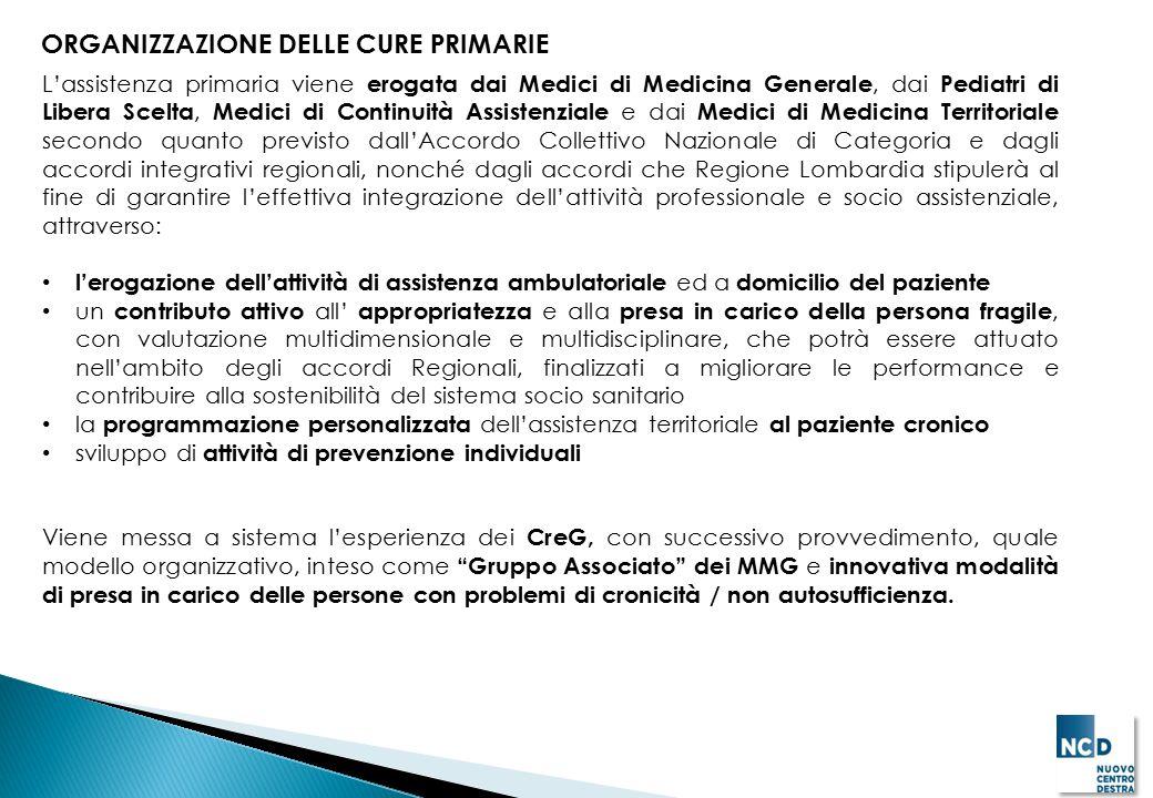 ORGANIZZAZIONE DELLE CURE PRIMARIE L'assistenza primaria viene erogata dai Medici di Medicina Generale, dai Pediatri di Libera Scelta, Medici di Conti