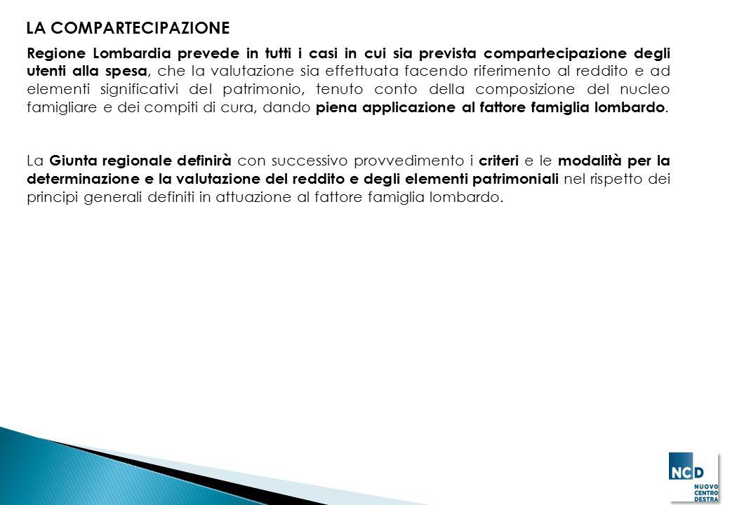 LA COMPARTECIPAZIONE Regione Lombardia prevede in tutti i casi in cui sia prevista compartecipazione degli utenti alla spesa, che la valutazione sia e
