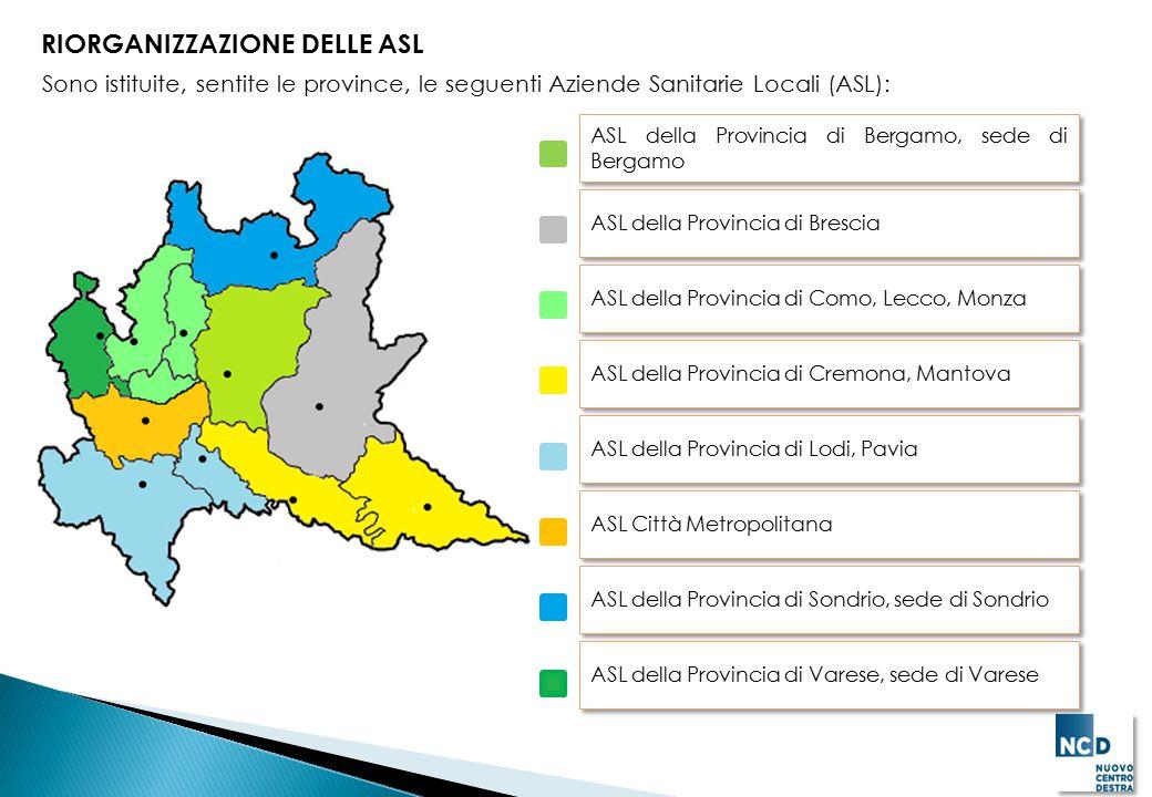 RIORGANIZZAZIONE DELLE ASL Sono istituite, sentite le province, le seguenti Aziende Sanitarie Locali (ASL): ASL della Provincia di Bergamo, sede di Be