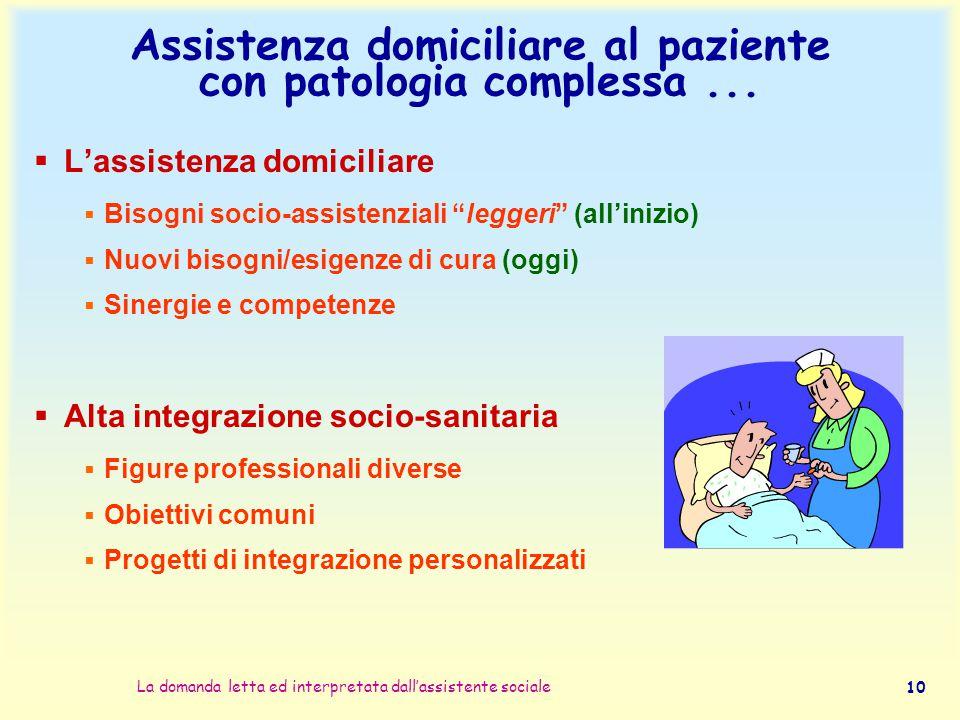 La domanda letta ed interpretata dall'assistente sociale 10 Assistenza domiciliare al paziente con patologia complessa...  L'assistenza domiciliare 