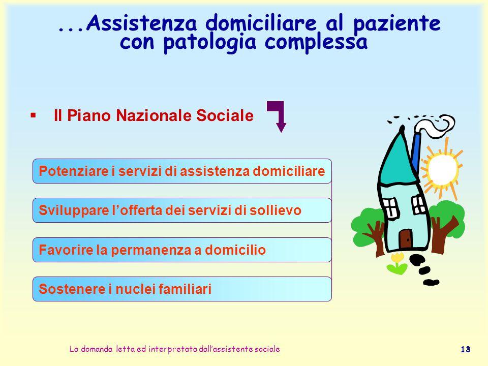 La domanda letta ed interpretata dall'assistente sociale 13...Assistenza domiciliare al paziente con patologia complessa  Il Piano Nazionale Sociale