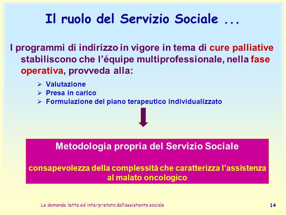 La domanda letta ed interpretata dall'assistente sociale 14 Il ruolo del Servizio Sociale... I programmi di indirizzo in vigore in tema di cure pallia