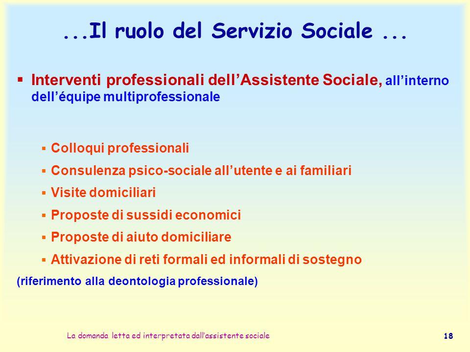 La domanda letta ed interpretata dall'assistente sociale 18...Il ruolo del Servizio Sociale...  Interventi professionali dell'Assistente Sociale, all