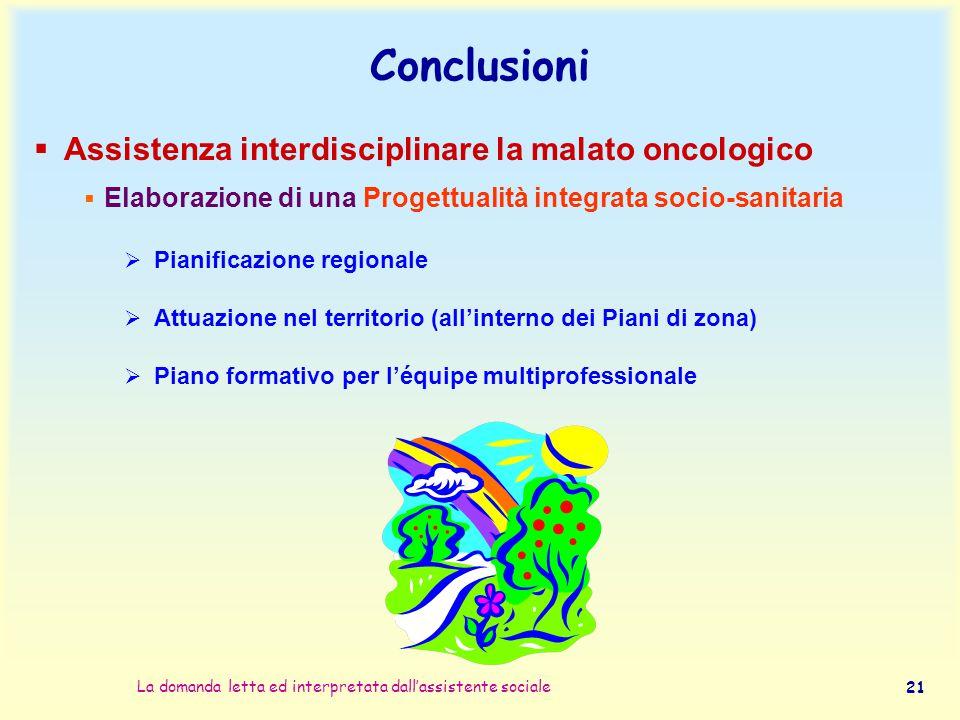 La domanda letta ed interpretata dall'assistente sociale 21 Conclusioni  Assistenza interdisciplinare la malato oncologico  Elaborazione di una Prog