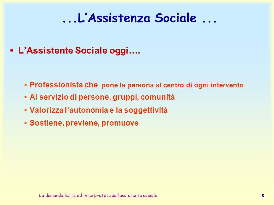 La domanda letta ed interpretata dall'assistente sociale 3...L'Assistenza Sociale...  L'Assistente Sociale oggi….  Professionista che pone la person