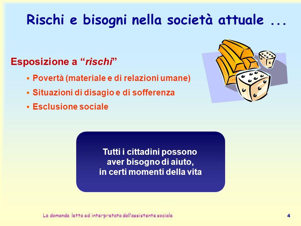 """La domanda letta ed interpretata dall'assistente sociale 4 Rischi e bisogni nella società attuale... Esposizione a """"rischi""""  Povertà (materiale e di"""