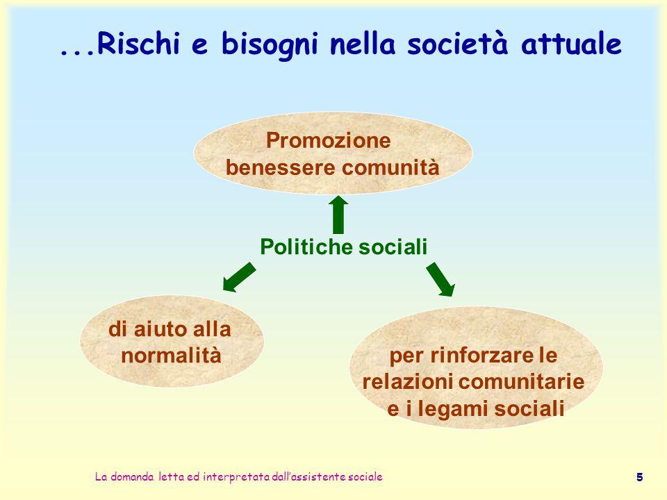 La domanda letta ed interpretata dall'assistente sociale 5...Rischi e bisogni nella società attuale per rinforzare le relazioni comunitarie e i legami