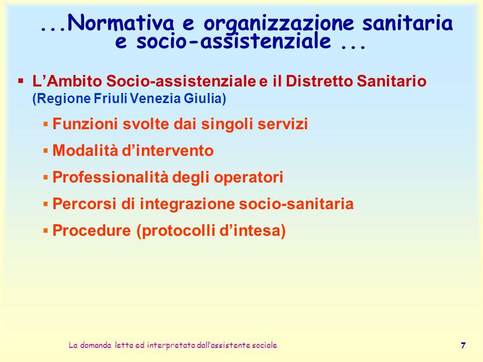 La domanda letta ed interpretata dall'assistente sociale 7...Normativa e organizzazione sanitaria e socio-assistenziale...  L'Ambito Socio-assistenzi