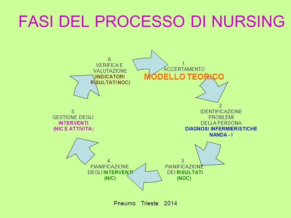 Pneumo Trieste 2014 FASI DEL PROCESSO DI NURSING 1. ACCERTAMENTO MODELLO TEORICO 2. IDENTIFICAZIONE PROBLEMI DELLA PERSONA DIAGNOSI INFERMIERISTICHE N