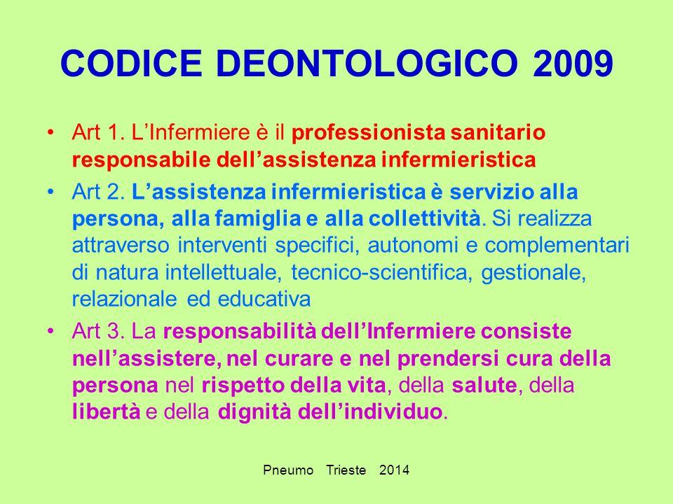Pneumo Trieste 2014 CODICE DEONTOLOGICO 2009 Art 1. L'Infermiere è il professionista sanitario responsabile dell'assistenza infermieristica Art 2. L'a