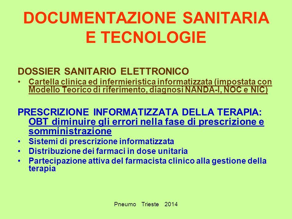 Pneumo Trieste 2014 DOCUMENTAZIONE SANITARIA E TECNOLOGIE DOSSIER SANITARIO ELETTRONICO Cartella clinica ed infermieristica informatizzata (impostata