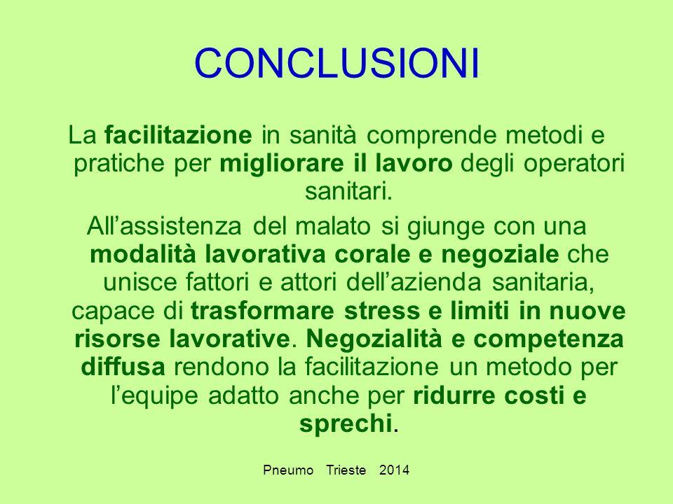 Pneumo Trieste 2014 CONCLUSIONI La facilitazione in sanità comprende metodi e pratiche per migliorare il lavoro degli operatori sanitari. All'assisten